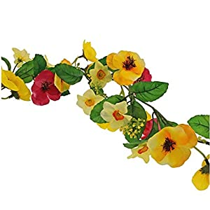 FloristryWarehouse Spring and Summer Faux Silk Flower Garland 6ft Dark Pink Yellow