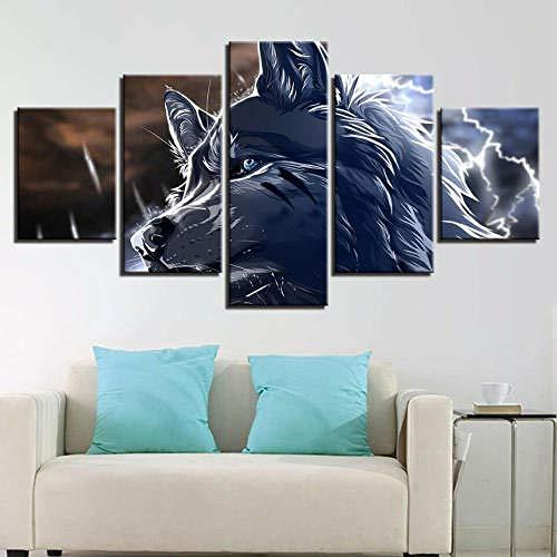 33Tdfc Regalo Creativo 5 Piezas Cuadros Decoracion Salon Modernos Arte De La Pared 150X80Cm Marco Póster/Resumen Animal Lobo 3D/Decoración del Hogar
