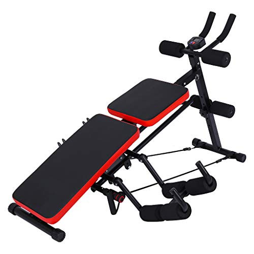 8 IN 1 Abdominal Trainers Home Trainer Dumbbell Bench, Height Adjustable Sit-up Exerciser for Full Body Workout Multifunctional Foldable Fitness Flat Bench, Max Weight Capacity 660 lb (Black)