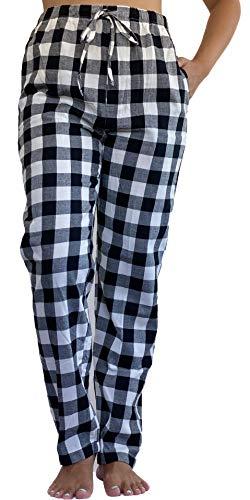 Pantalon de Pijama para Mujer 100% Algodon Tejido Franela Casual y Comodo (XXL, Negro)