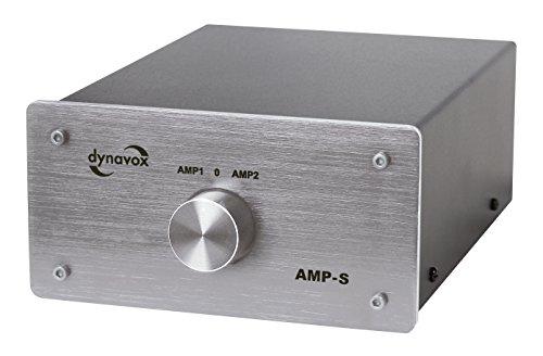 Dynavox AMP-S, Verstärker- und Boxen-Umschalter in Metallgehäuse, für Stereo- und Surround-Verstärker, Verbindung über Bananenstecker oder Klemmanschluss, Silber
