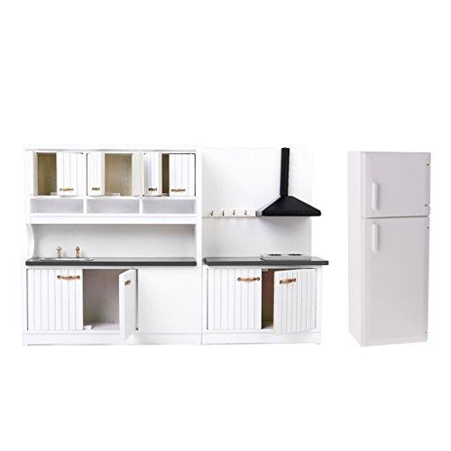 1/12 Puppenhaus Küche / Esszimmer Möbel Kit aus Holz, Inkl. Herd Schrank, Kühlschrank und Waschbecken