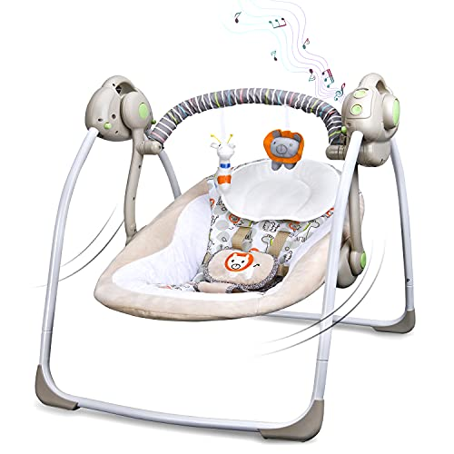 Electrical Baby Swing,Khaki Chair Seat with Stuffed Toys Baby Bouncer Newborns Rocker 6 Speed 16 Melodies Playing Gift USB Charged