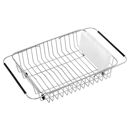 iPEGTOP Expandable Dish Drying Rack Over The Sink Dish Rack in Sink Or On Counter Dish Drainer with White Utensil Holder Cutlery Tray Rustproof Stainless Steel for Kitchen