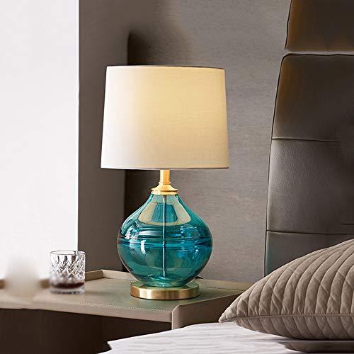 YWSZJ Lámpara de Mesa de Vidrio Coloreado, lámpara de Noche para Dormitorio, luz de Cobre Creativa, Simple, Moderna, cálida, Sala de Estar en casa