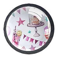 引き出しハンドルキャビネットノブ 4つの引き出しノブのラウンドパック,お誕生日おめでとうデザート