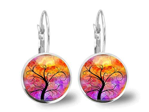 Sunshine Pendientes vintage, pendientes de árbol de la vida, joyería de cristal, regalo para ella