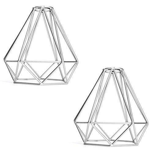 MagiDeal Paquete de 2 Jaulas de Luz para Techo con Colgante de Diamantes para Dormitorio/Comedor/Sala de Estar Pantalla Plateada, 8x8 ''