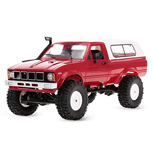 YIKESHU Rc Truck Remote Control Off-Road Racing Vehicles 1:16 2.4G 2CH 4WD Off-Road Kids RC Toy Climb Semi Truck RTR Trailer The LED Lights (C24-RD)