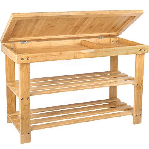 Shoe Rack Storage Bench Bamboo Organizer Entryway Organizing Shelf with Storage...