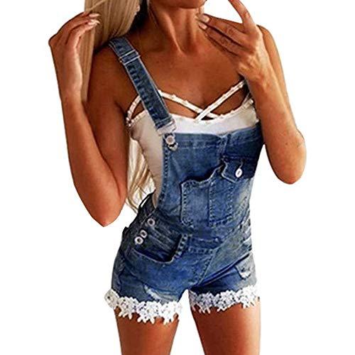 OEAK Damen Kurz Jeanslatzhose Denim Overall Elegant Latzshorts Jumpsuit Playsuit Spitze Jeans Hosenanzug Romper