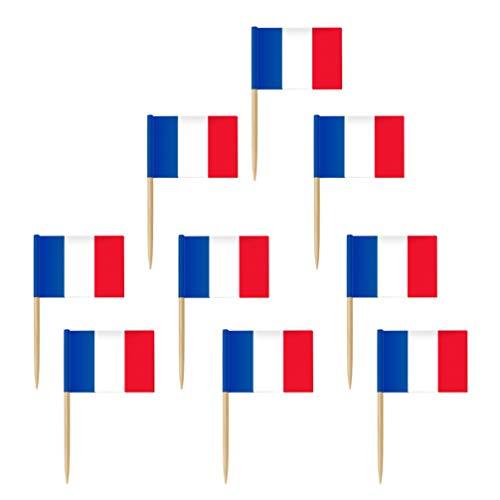 NUOBESTY 100Pcs Frankrijk Vlag Tandenstokers Franse Vlaggen Cupcake Toppers Cocktail Voedsel Vlag Sticks Kleine Mini…