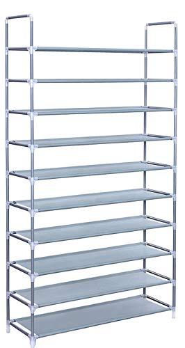 GREEF Classics 10-Tier 50-Pair Shoe Rack Organizer Sturdy Metal Storage Shelf for Bedroom, Closet, Entryway, Dorm Room, Non Woven Fabric (Grey)