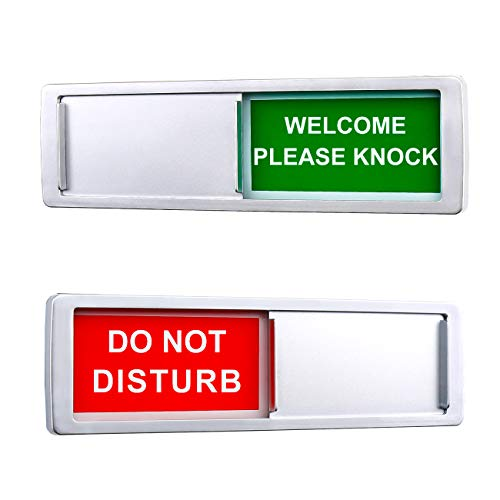 Privacy Sign, Do Not Disturb Welcome Sign for Home Office Restroom Conference Hotles Hospital, Privacy Slide Door Sign for Respecting Your Space and Time, Silver, 7'' x 2''