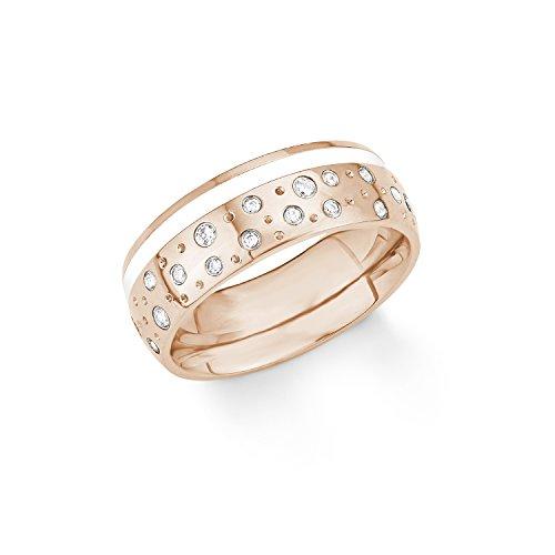 s.Oliver Damen-Ring Emailliert IP Rose Edelstahl Zirkonia weiß Gr. 54 (17.2)-2012556