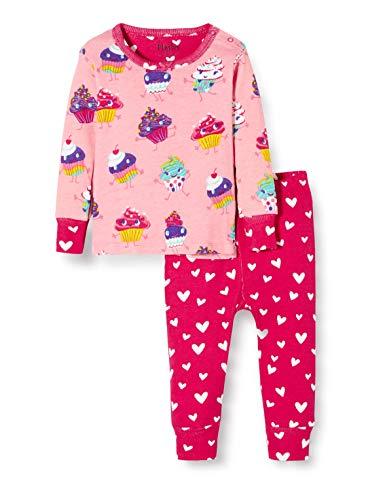 Hatley Organic Cotton Long Sleeve Pyjama Sets Conjuntos de Pijama, Rosa (Dancing Cupcakes 650), 12 Meses para Bebés