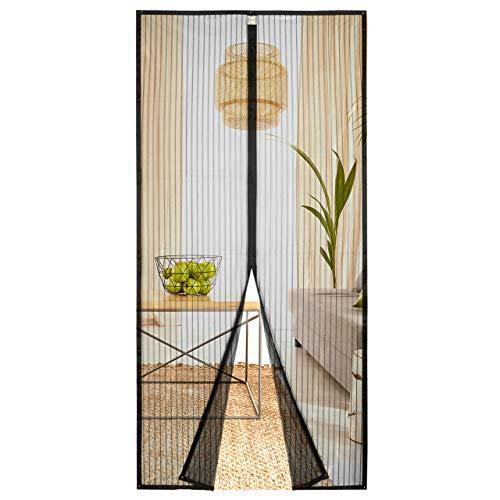 Homitt Magnet Fliegengitter Tür 90×210cm Magnet Insektenschutz Tür, Anti-Riss-verstärktes Oberteil, Rahmen-Klettverschlüsse für Balkontür Wohnzimmer Terrassentür, Klebemontage Ohne Bohren