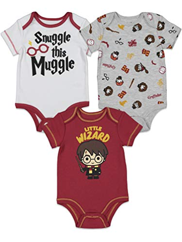 Harry Potter Baby Boys 3 Pack Short Sleeve Bodysuits White/Gray/Red 3-6 Months