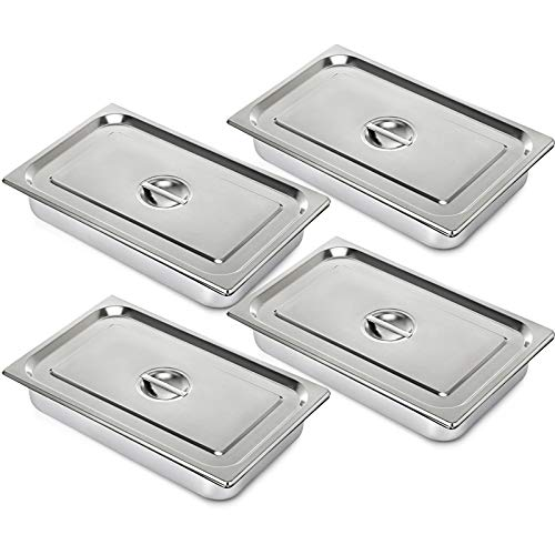 """Mophorn 4 Pack Hotel Pan 4"""" Deep Steam Table Pan Full Size with Lid 20.8""""L x 12.8""""W Full Size Hotel Pan 22 Gauge Stainless Steel Anti Jam Steam Table Pan"""