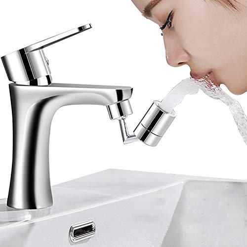 Waternymph 720 Grad schwenkbarer Wasserhahn-Strahlregler, Dual-Funktions-Badezimmerarmatur montiert für Gesichtswäsche, Gargle und Augenspülung, 22 mm Innengewinde – Poliertes Chrom