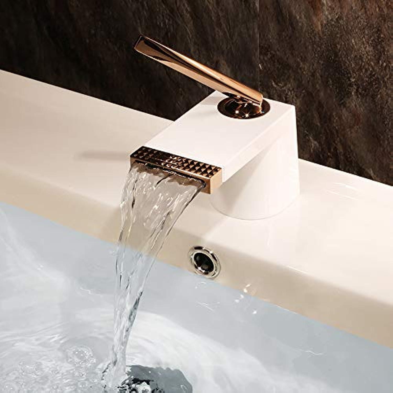 PEIWENIN Chrom Wasserfall Becken Waschbecken Mischbatterie Kupfer Modern Luxus Badezimmer Hebel Wasserhahn, wei