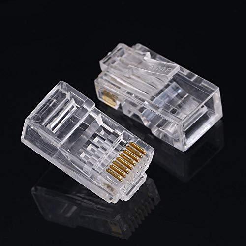Zwindy Conector Ethernet Resistente a la corrosión, Enchufe Modular RJ45, Enchufe de Cable de Red autobloqueante para Cabezales de Cable de Red sólidos/Trenzados Cat6 Cat 6a