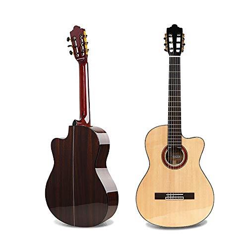 Regalo de Música Spruce portátil de Chapa Recortada Clásica Guitarg 39 Pulgadas for la Prueba de Rendimiento Profesional Guitarra para Principiantes (Color : Wood, Size : 39inch)