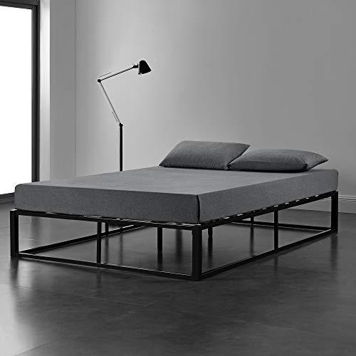 [en.casa] Metallbett 140x200cm Schwarz auf Stahlrahmen mit Lattenrost Bettgestell Design Doppelbett Gästebett Schlafzimmer