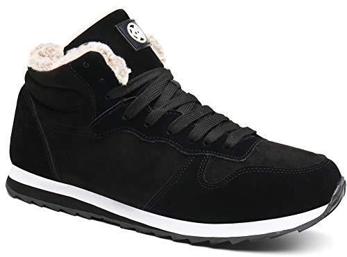 Gaatpot Herren Damen Winterschuhe Schneestiefel Winter Hohe Sneakers Warm gefütterte Leder Schnür Stiefel Boots Schuhe Schwarz EU 37 = CN 38