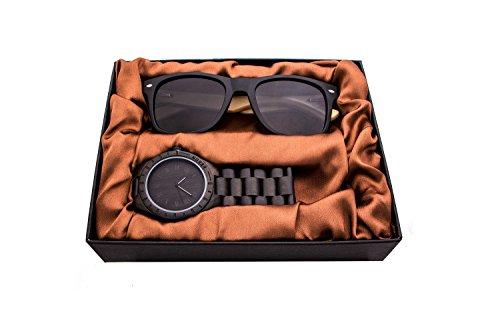 Kenon Herren Holz Uhren Analoges mit Sonnenbrille Sets,Outdoor Wasserdicht Sport Digital Holz Uhr Quarz Big Watch mit Sonnenbrille Box