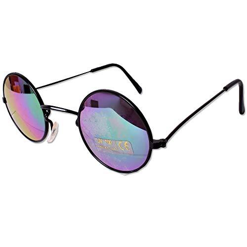 tevenger Gafas de sol redondas de níquel con protección UV400, redondas, unisex, color del borde negro, cristal, verde, lila, 40 mm