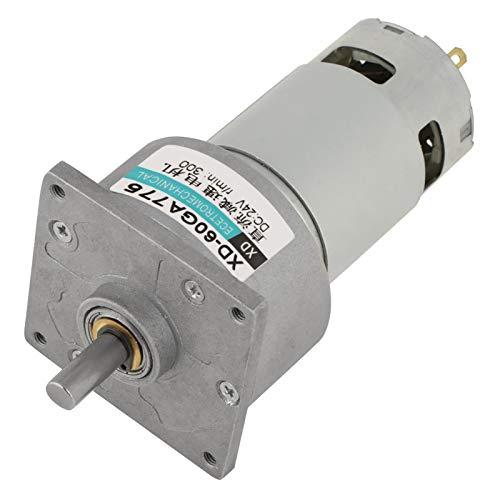 DC 12/24V 35W Motor de Engranaje Reductor de Velocidad Micro Ajustable CW/CCW Mini Caja de Engranajes de Reducción de Velocidad de Alto Torque(24V 300RPM)