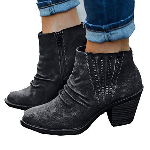 WggWy Damen Lässige Retro-Kurzstiefel, modischer Low-Fersen-Seiten-Reißverschluss Niete verzierte Chelsea-Stiefel, eignet Sich für das Matching mit Jeanshemden,Schwarz,43
