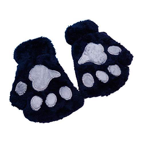 VVXXMO Guantes clidos de invierno para mujeres y adultos, con diseo de huellas de gato de dibujos animados bordados, anime gatito, gruesos, de felpa, sin dedos, calentadores de manos