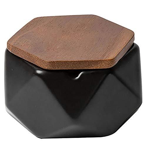 NEDTO Cenicero para Exterior Tapa, de cerámica, para decoración geométrica, para mesita de Centro, pequeña decoración, apartamento, Dormitorio, balcón, Negro