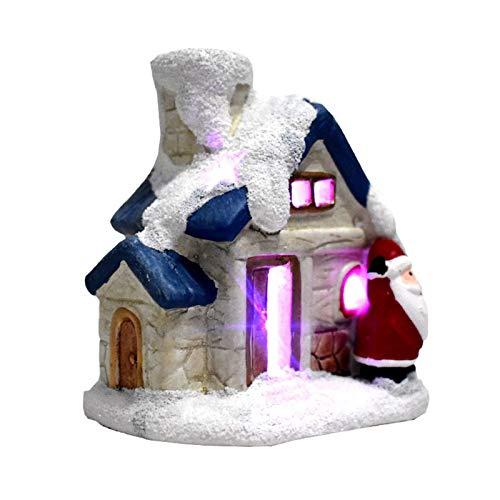 seraphicar Casa luminosa natalizia, villaggio in resina Santa's House Fantasy, decorazione natalizia, decorazione natalizia, luci a LED, regalo per interni
