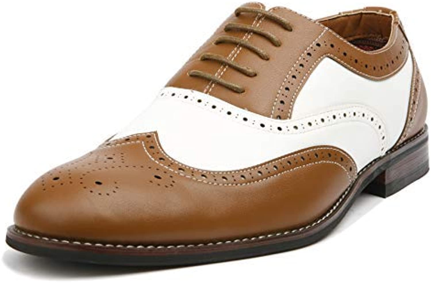 Ferro Aldo Arthur MFA139001D Mens Wingtip Two Tone Oxford Black and White Spectator Dress shoes - Brown, Size 9.5