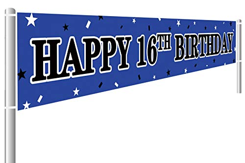 Large Happy 16th Birthday Banner, 16 Years Old Birthday Party Sign Blue, 16th Birthday Party Supplies Decorations (9.8 x 1.6 ft)