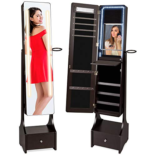 Best Choice Products Full Length Standing LED Mirror, Jewelry & Makeup Storage Cabinet Armoire w/ Interior & Exterior Lights, Lockable Magnet Door, Touchscreen, Velvet Lining, Shelves, Drawer - Brown