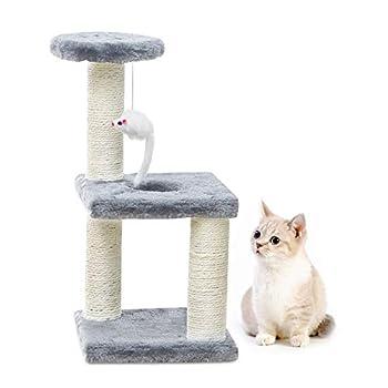 Tang & Guo arbres d'activité de chat bois Kitty poteau d'escalade pour animaux de compagnie poteau à gratter petit chat grattoir tour de poteau pour chats d'intérieur