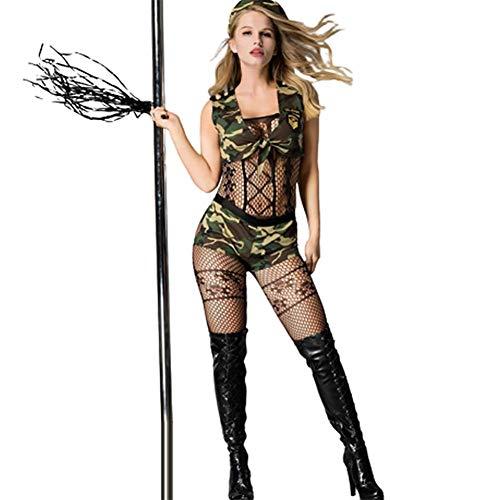 ZHANGXIAOFENG Damen Sexy Siamesischen Bodysuit Pyjama, Erotische Tarnung Uniformen Verführerische Persönlichkeit Nachtclub Show Kostüm, Army Green