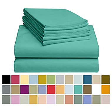 LuxClub 6 PC Sheet Set Bamboo Sheets Deep Pockets 18  Eco Friendly Wrinkle Free Sheets Hypoallergenic Anti-Bacteria Machine Washable Hotel Bedding Silky Soft - Teal Queen