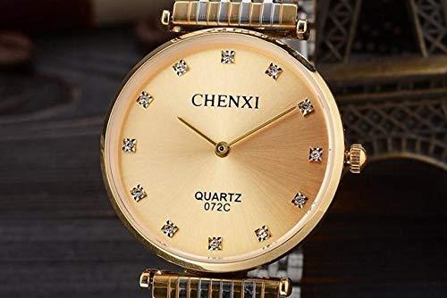 GKXAZ Art und Weise beiläufige Paare Uhren Geschäfts-Art-Mann-Frauen-Gold Edelstahl wasserdicht Quarz-Charme-Kleid (Color : Gold Man)