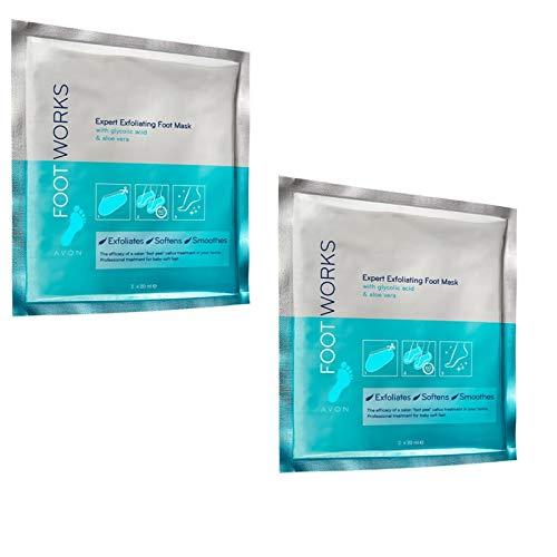 Avon Calcetines exfoliantes para pies Footworks con ácido glicólico y aloe vera para pies bonitos contra callos, callos, etc. 2 unidades