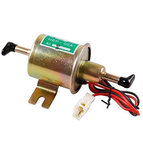Universal Automotive modificado HEP-02A 12 V Heavy Duty Metal eléctrica bomba de combustible para gasolina y diesel (Dorado)