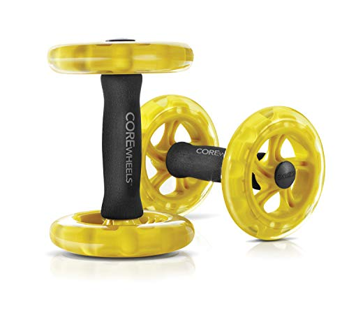 SKLZ Core Wheels Dynamic Strength and Ab Trainer Roller, Set of 2 , Yellow/Black/Yellow