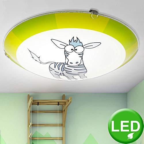 Decken Lampe Kinder Zimmer Beleuchtung Zebra Design Wand Leuchte grün im Set inkl. LED Leuchtmittel