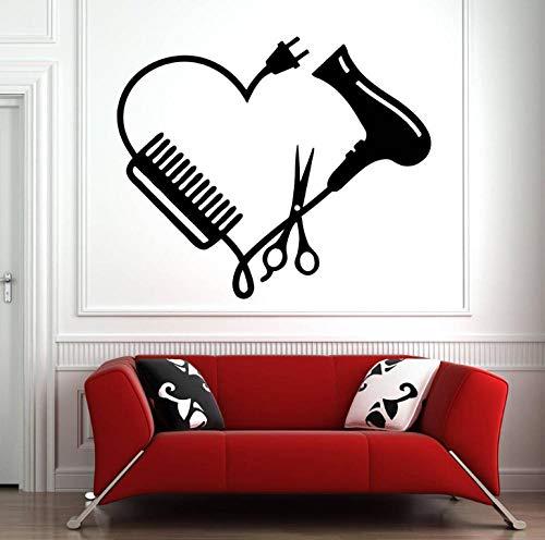 Muurstickers, 42 x 50 cm, wandstickers, kapsalon decoratie, schaar, schoonheidssalon, hart, wandlamp, wandlamp, PVC, decoratie voor huis, modern, waterdicht, zelfklevend, Art Crea