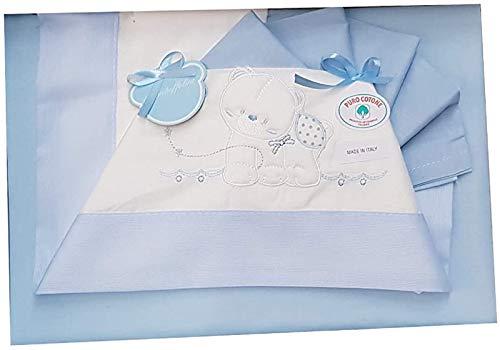 I BATUFFOLINI Juego completo de cuna/cochecito de bebé, sábanas de algodón azul, diseños variados temporales