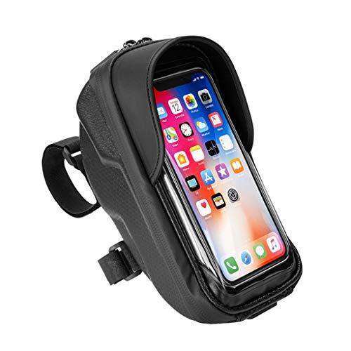 HJSW Bolsa Bicicleta Montaña Cuadro Impermeable, Soporte Manillar Móvil Bicicletas Accesorios Mochila Bicletas Frame Bag para iPhone 12/11/Max/Mini/Pro/XS Max/XR/X/7/8 Plus, 4.0''~6.2'' Teléfono